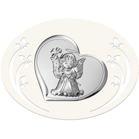 Obrazek srebrny Aniołek Pamiątka Chrztu 6447P