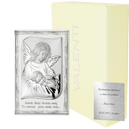 Obrazek srebrny Aniołek nad dzieciątkiem 82109PL