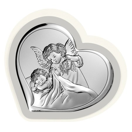 Obrazek srebrny Aniołek z latarenką Pamiątka Chrztu Świętego 6448PG