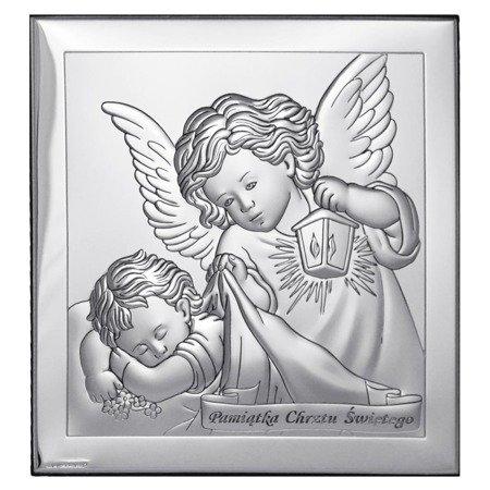 Obrazek srebrny Aniołek z latarenką z podpisem 6430