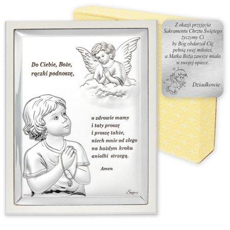 Obrazek srebrny Aniołek z modlitwą z białą ramką 31300BW