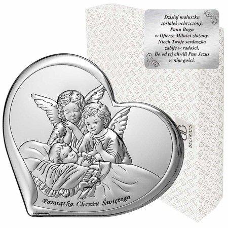 Obrazek srebrny Aniołki Pamiątka Chrztu 6451