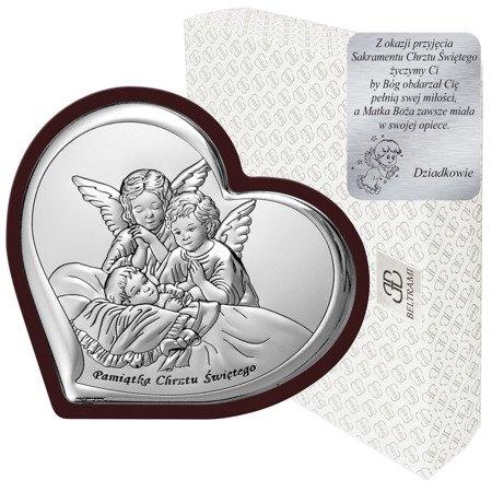 Obrazek srebrny Aniołki nad dzieckiem 6451WM