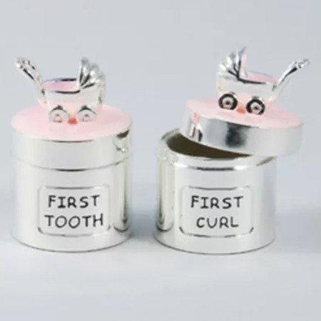 Puzderka na pierwszy ząbek oraz pukiel włosów, różowe, wózek 473-3390