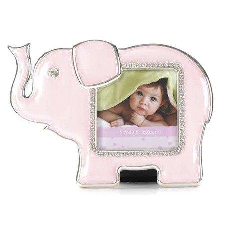 Ramka dziecięca z masy perłowej - różowa, słonik 473-3331
