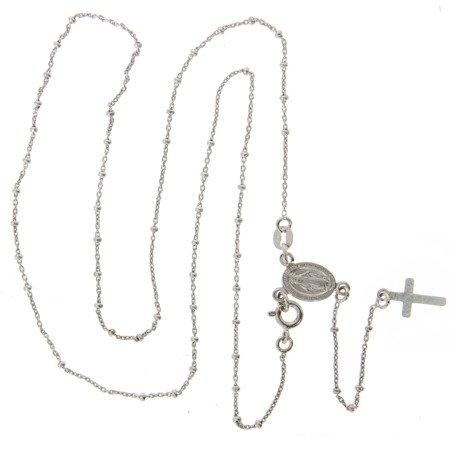 Różaniec srebrny - 5 dziesiątek z zapięciem rodowany 3,8-4,2 g, srebro pr. 925 RC014