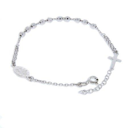 Różaniec srebrny - bransoletka na rękę, dziesiątek, diamentowany, 4,0-4,4 g, rodowane srebro pr. 925 BRS28