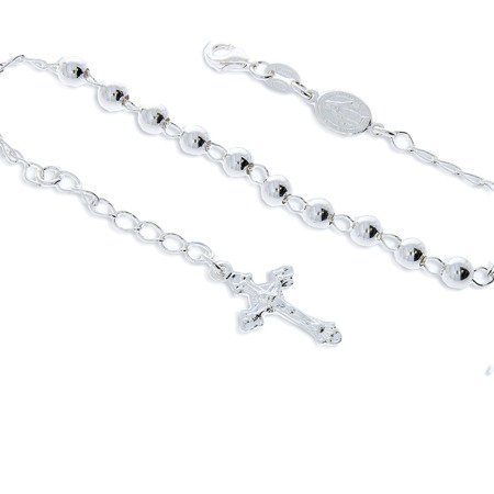 Różaniec srebrny - bransoletka na rękę, dziesiątek, diamentowany, 4,3-4,7 g, srebro pr. 925 BRS20