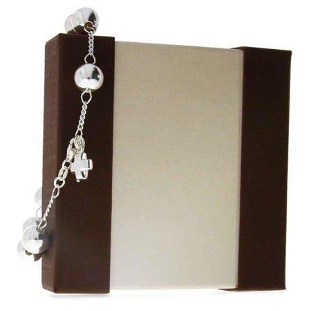 Różaniec srebrny - bransoletka różańcowa na rękę, dziesiątek, 7,8-8,5 g, srebro pr. 925 BRP04