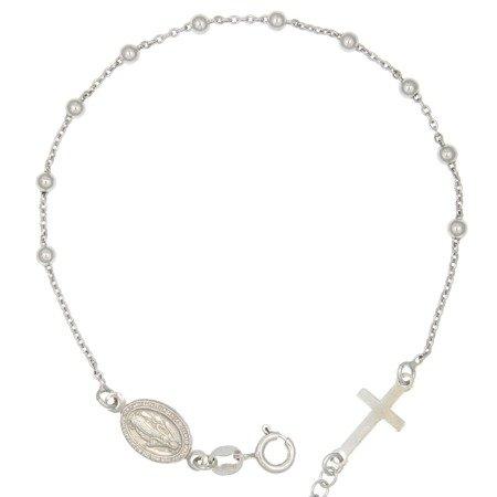 Różaniec srebrny - bransoletka różańcowa na rękę, dziesiątek, rodowany 2,8-3,4 g, srebro pr. 925 BRS33