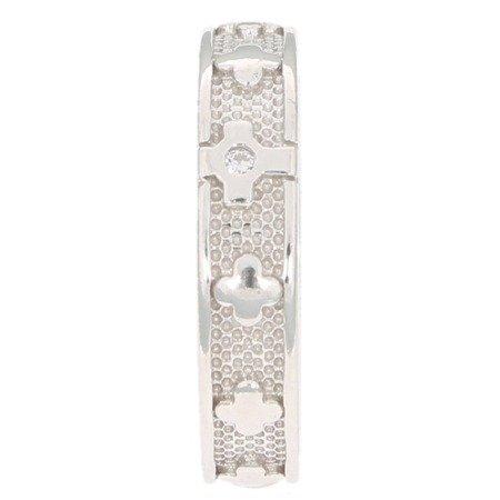 Różaniec srebrny obrączka na palec rodowana, cyrkonia, rozmiary 12-24  Srebro pr. 925 RPM11