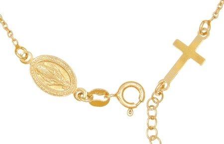 Różaniec srebrny pozłacany - bransoletka na rękę, dziesiątka diamentowany 2,8-3,5 g, srebro pr. 925 BRS15