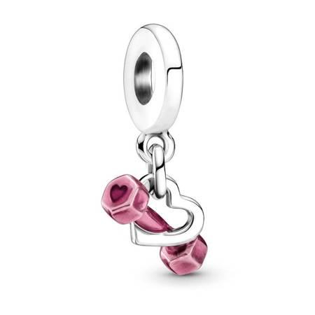 Srebrna przywieszka pr 925 Charms biało-niebieskie cyrkonie PAN242