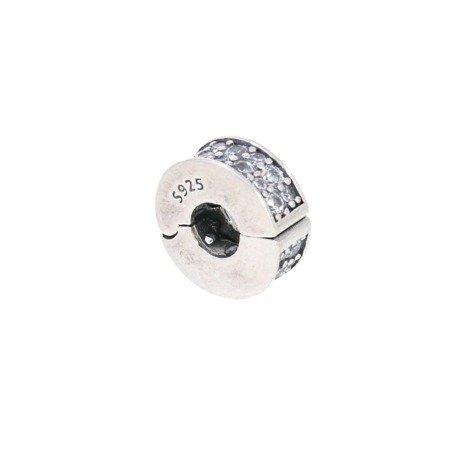 Srebrna przywieszka pr 925 Charms obrączka cyrkonie PAN056