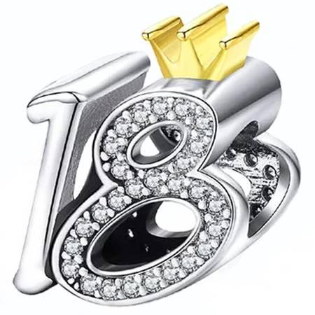 Srebrna przywieszka pr 925 Charms osiemnastka cyrkonie PAN170