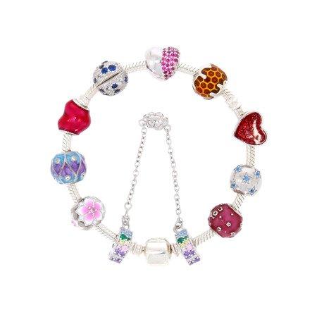 Srebrna przywieszka pr 925 Charms serce różowe cyrkonie PAN058
