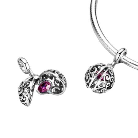 Srebrna przywieszka pr 925 Charms serce w różowo-białe kwiaty PAN016