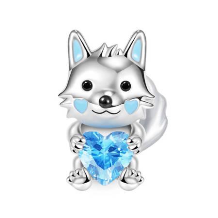 Srebrna przywieszka pr 925 Charms serce z niebieskimi cyrkoniami PAN235