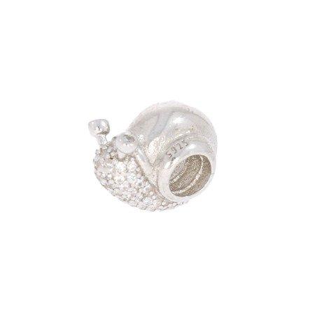 Srebrna przywieszka pr 925 Charms ślimak cyrkonie PAN065