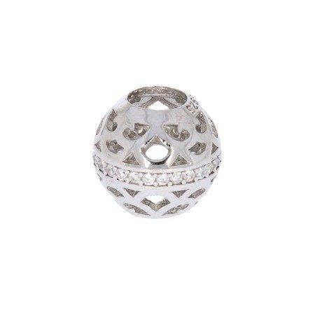 Srebrna przywieszka stoper pr 925 Charms kulka ażur cyrkonie PAN037