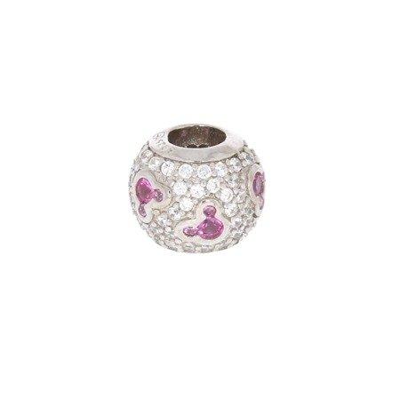 Srebrna przywieszka stoper pr 925 Charms kulka z myszkami róż cyrkonie PAN039