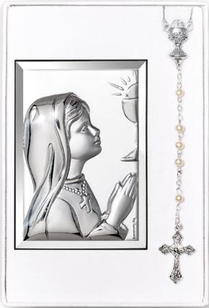 Zestaw Obrazek Srebrny Pamiątka I Komunii Świętej 31302 + różaniec