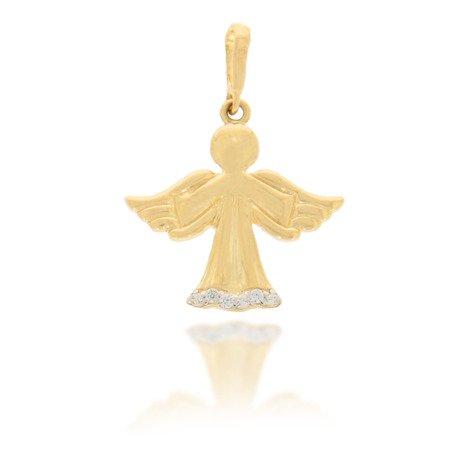 Złota przywieszka pr. 585 Aniołek cyrkonie na szacie ZP030