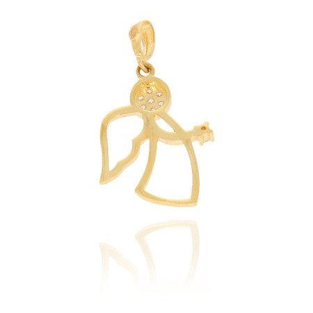 Złota przywieszka pr. 585 Aniołek profil cyrkonia ZP033