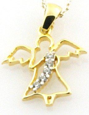 Złota przywieszka pr. 585 Aniołek z szarfą z cyrkonii ZP006