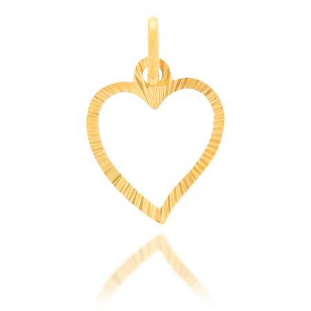 Złota przywieszka pr. 585 Serce duże kontur promienie ZP025