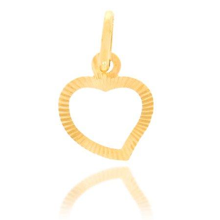 Złota przywieszka pr. 585 Serce małe kontur promienie ZP026