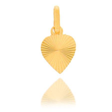 Złota przywieszka pr. 585 Serce małe płaskie promienie ZP024