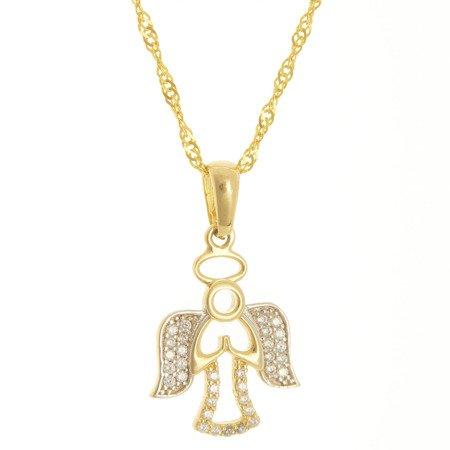 Złota przywieszka pr. 585 aniołek cyrkonie ZP059