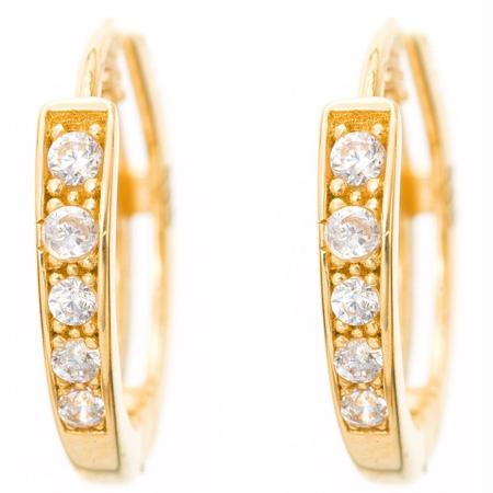Złote kolczyki pr. 585 Kółka małe I cyrkonie (zapięcie kajdanki)  ZA064