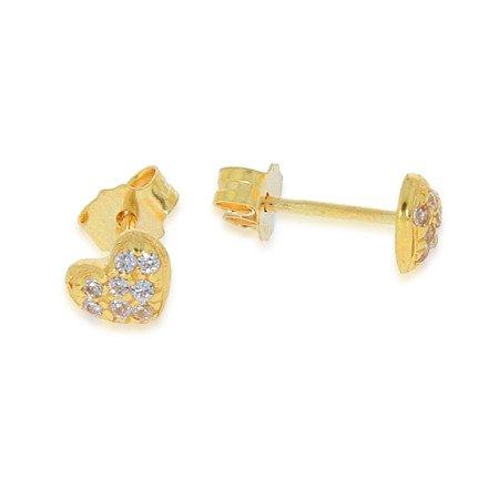 Złote kolczyki pr. 585 Serduszko pełne cyrkonie sztyft ZA010