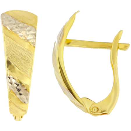 Złote kolczyki pr. 585 asymetryczne nowoczesne przecinki diamentowane dwukolorowe angielskie zapięcie  ZA214