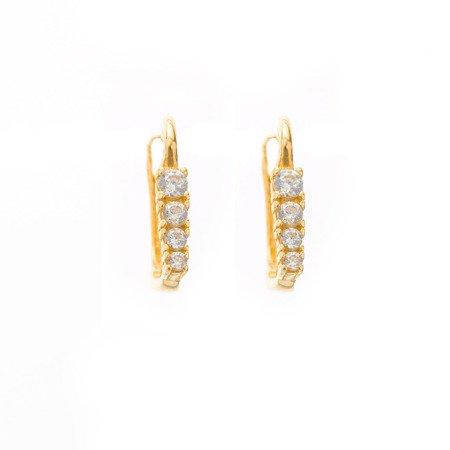 Złote kolczyki pr. 585 cyrkonie I  ZA073