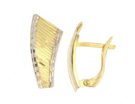 Złote kolczyki pr. 585 dwukolorowe asymetryczne nowoczesne przecinki diamentowane angielskie zapięcie  ZA212