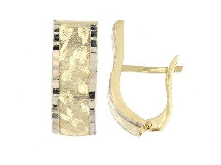 Złote kolczyki pr. 585 nowoczesne fale dwukolorowe diamentowane angielskie zapięcie  ZA220