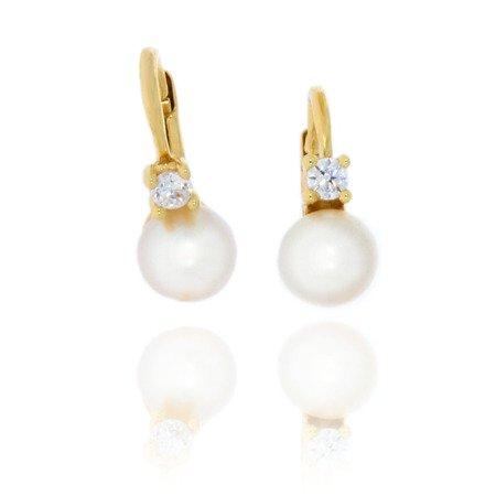 Złote kolczyki pr. 585 perła średnia 6,0 z cyrkonią mm bigiel angielski ZA026