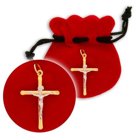 Złoty krzyżyk pr. 585 Krzyż duży prosty z wizerunkiem Jezusa ZK028
