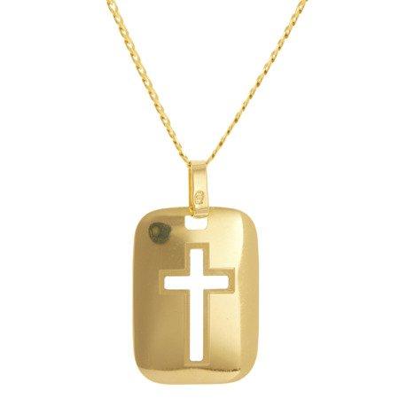 Złoty krzyżyk pr. 585 Krzyżyk blaszka ZK057