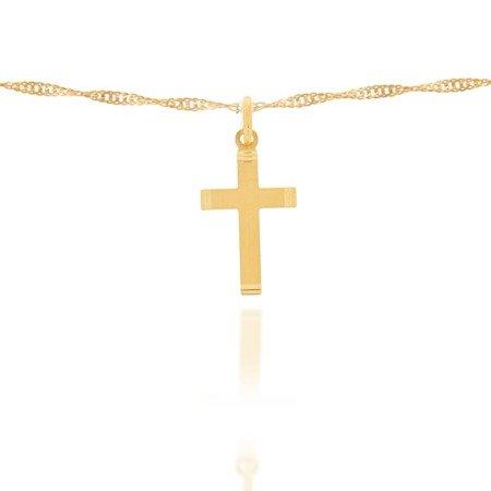 Złoty krzyżyk pr. 585 Krzyżyk płaski prążki ZK006