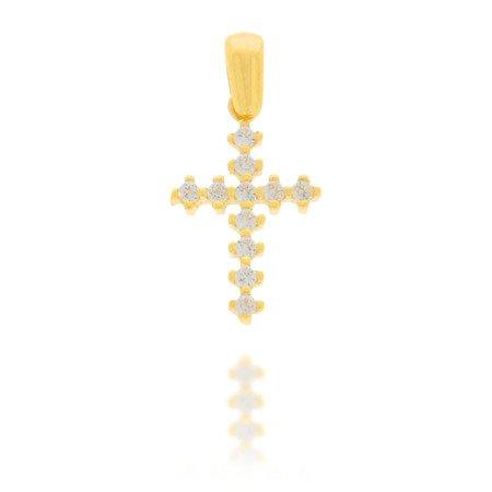 Złoty krzyżyk pr. 585 Krzyżyk prosty cyrkonie ZK034