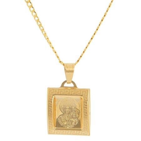 Złoty medalik pr. 585 M.B. Częstochowska kwadrat ramka wypukła ZM037
