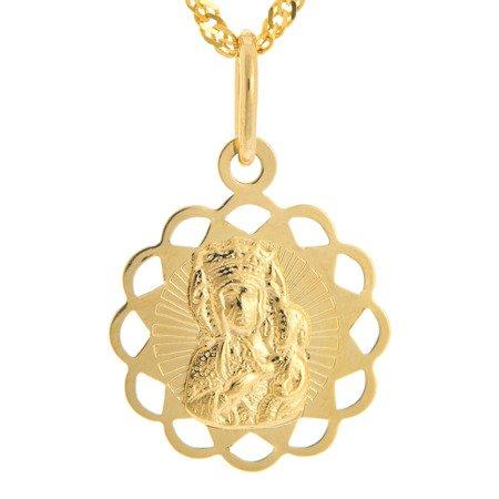 Złoty medalik pr. 585 M.B. Częstochowska kwiat ażur ZM044