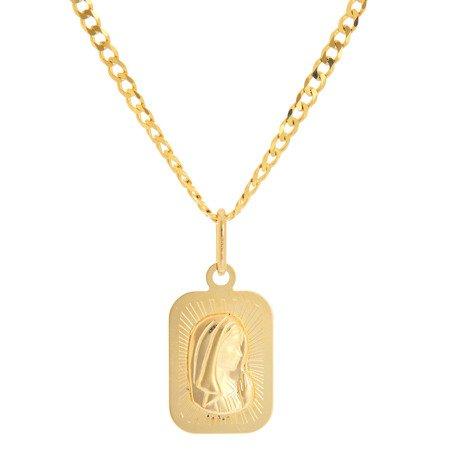 Złoty medalik pr. 585 Matka Boska profil prostokąt ZM085