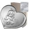 Obrazek na chrzciny srebrny Aniołek nad dzieckiem z podpisem 6732S