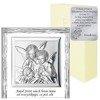 Obrazek z Aniołkami srebrny Aniołki nad dzieckiem podpisem 829