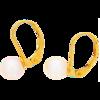 Złote kolczyki pr. 585 perła duża 7,0 mm bigiel angielski ZA025